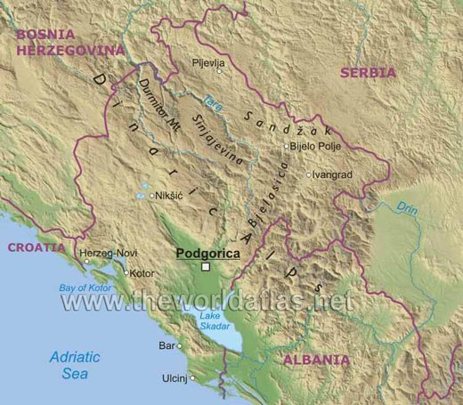 dinaric alps map. Regions: Dinaric Alps, Sandzak