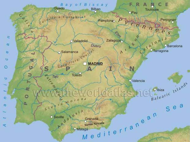 Geographical map of spain